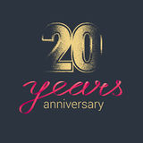 20 years anniversary vector icon, logo. Graphic design element with golden glitter stamp for decoration for 20th anniversary Vector Illustration