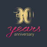 30 years anniversary vector icon, logo. Graphic design element with golden glitter stamp for decoration for 30th anniversary Stock Image