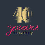 40 years anniversary vector icon, logo Royalty Free Stock Photography