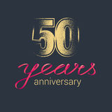 50 years anniversary vector icon, logo. Graphic design element with golden glitter stamp for decoration for 50th anniversary Royalty Free Stock Image