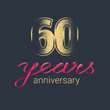 60 years anniversary vector icon, logo. Graphic design element with golden glitter stamp for decoration for 60th anniversary Royalty Free Stock Image