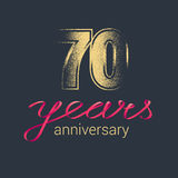 70 years anniversary vector icon, logo. Graphic design element with golden glitter stamp for decoration for 70th anniversary Royalty Free Stock Images