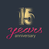 15 years anniversary vector icon, logo. Graphic design element with golden glitter stamp for decoration for 15th anniversary Royalty Free Stock Image