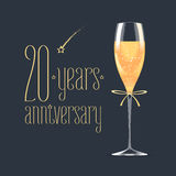 20 years anniversary vector icon, logo. Graphic design element with golden lettering and glass of champagne for 20th anniversary greeting card or banner Stock Image