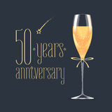 50 years anniversary vector icon, logo. Graphic design element with golden lettering and glass of champagne for 50th anniversary greeting card or banner Royalty Free Stock Image