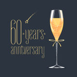60 years anniversary vector icon, logo. Graphic design element with golden lettering and glass of champagne for 60th anniversary greeting card or banner stock illustration