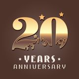 20 years anniversary vector icon, logo. Graphic design element with golden metal effect numbers for 20th anniversary decoration Stock Photography