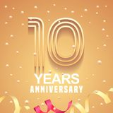 10 years anniversary vector icon, logo. Graphic design element with golden numbers and festive background for 10th anniversary Royalty Free Stock Images
