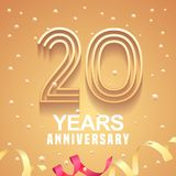 20 years anniversary vector icon, logo. Graphic design element with golden numbers and festive background for 20th anniversary Stock Images