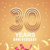 30 years anniversary vector icon, logo. Graphic design element with golden numbers and festive background for 30th anniversary Stock Image