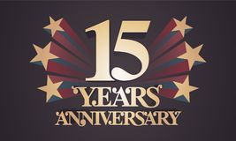15 years anniversary vector icon, logo. Graphic design element with golden numbers for 15th anniversary celebration Stock Images