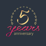 5 years anniversary vector icon, logo Royalty Free Stock Photography
