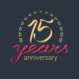 15 years anniversary vector icon, logo. Graphic design element with golden realistic ribbon curls for decoration for 15th anniversary royalty free illustration