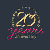 20 years anniversary vector icon, logo. Graphic design element with golden realistic ribbon curls for decoration for 20th anniversary stock illustration