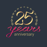 25 years anniversary vector icon, logo. Graphic design element with golden realistic ribbon curls for decoration for 25th anniversary Stock Photos