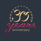 30 years anniversary vector icon, logo. Graphic design element with golden realistic ribbon curls for decoration for 30th anniversary Royalty Free Stock Images