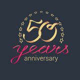 50 years anniversary vector icon, logo. Graphic design element with golden realistic ribbon curls for decoration for 50th anniversary stock illustration