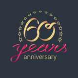 60 years anniversary vector icon, logo. Graphic design element with golden realistic ribbon curls for decoration for 60th anniversary Stock Images