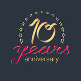 10 years anniversary vector icon, logo. Graphic design element with golden realistic ribbon curls for decoration for 10th anniversary Vector Illustration