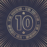 10 years anniversary vector icon, logo. Graphic design element with golden stamp with number for 10th anniversary ceremony Royalty Free Stock Photos
