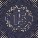 15 years anniversary vector icon, logo. Graphic design element with golden stamp with number for 15th anniversary ceremony vector illustration