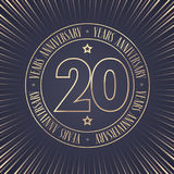 20 years anniversary vector icon, logo. Graphic design element with golden stamp with number for 20th anniversary ceremony vector illustration