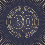 30 years anniversary vector icon, logo. Graphic design element with golden stamp with number for 30th anniversary ceremony Royalty Free Stock Image
