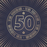 50 years anniversary vector icon, logo. Graphic design element with golden stamp with number for 50th anniversary ceremony Royalty Free Stock Photography