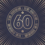 60 years anniversary vector icon, logo. Graphic design element with golden stamp with number for 60th anniversary ceremony Royalty Free Stock Photo