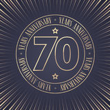 70 years anniversary vector icon, logo. Graphic design element with golden stamp with number for 70th anniversary ceremony Stock Image