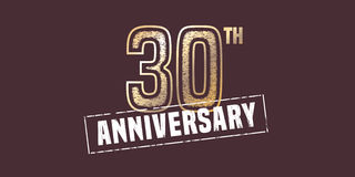 30 years anniversary vector icon, logo. Graphic design element with golden stamp for 30th anniversary decoration Royalty Free Stock Photo