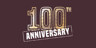 100 years anniversary vector icon, logo. Graphic design element with golden stamp for 100th anniversary decoration Royalty Free Stock Image