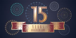 15 years anniversary vector icon, logo. Graphic design element, illustration with ribbon and golden color number for 15th anniversary celebration Royalty Free Stock Images