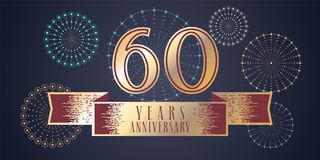 60 years anniversary vector icon, logo. Graphic design element, illustration with ribbon and golden color number for 60th anniversary celebration Stock Photos