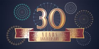 30 years anniversary vector icon, logo. Graphic design element, illustration with ribbon and golden color number for 30th anniversary celebration Royalty Free Stock Photo