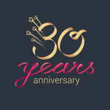 30 years anniversary vector icon, logo. Graphic design element with lettering and red ribbon for decoration for 30th anniversary ceremony Royalty Free Stock Photos