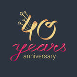 40 years anniversary vector icon, logo Royalty Free Stock Photos