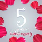 5 years anniversary vector icon, logo. Graphic design element with numbers for 5th birthday or wedding anniversary greeting card stock illustration