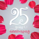 25 years anniversary vector icon, logo. Graphic design element with numbers for 25th birthday or wedding anniversary greeting card royalty free illustration