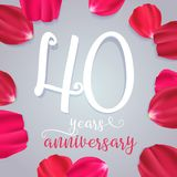 40 years anniversary vector icon, logo. Graphic design element with numbers for 40th birthday or wedding anniversary greeting card royalty free illustration