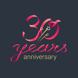 30 years anniversary vector icon. 30 years anniversary vector logo. Graphic design element with red lettering and golden stars for decoration for 30th Stock Photos