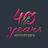 40 years anniversary vector icon, logo Stock Images