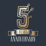 5 years anniversary vector icon, logo. Graphic design element with ribbon and golden color and grunge texture number for 5th anniversary ceremony Royalty Free Stock Images