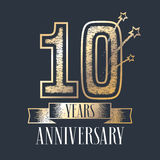 10 years anniversary vector icon, logo. Graphic design element with ribbon and golden color and grunge texture number for 10th anniversary ceremony Stock Illustration