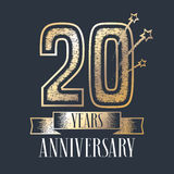 20 years anniversary vector icon, logo. Graphic design element with ribbon and golden color and grunge texture number for 20th anniversary ceremony Vector Illustration