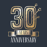 30 years anniversary vector icon, logo. Graphic design element with ribbon and golden color and grunge texture number for 30th anniversary ceremony Royalty Free Stock Photography