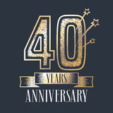 40 years anniversary vector icon, logo. Graphic design element with ribbon and golden color and grunge texture number for 40th anniversary ceremony Stock Photos