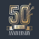 50 years anniversary vector icon, logo. Graphic design element with ribbon and golden color and grunge texture number for 50th anniversary ceremony Stock Photography