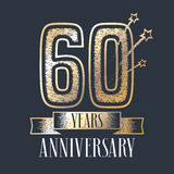 60 years anniversary vector icon, logo. Graphic design element with ribbon and golden color and grunge texture number for 60th anniversary ceremony royalty free illustration