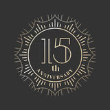 15 years anniversary vector icon, logo. Graphic design element for 15th anniversary birthday card vector illustration